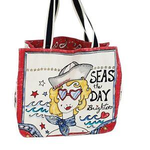Brighton SEAS THE DAY Tote Bag Travel Shopper Pool Canvas Mermaid Beach Nautical