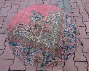 Anatolian Unique Handmade Carpet Turkish Vintage Oriental Round Rug 3.5x3.5 ft