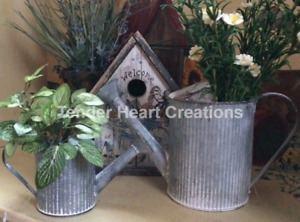 PAIR of Galvanized Watering Cans Rustic Planters Vase Basket Primitive Country