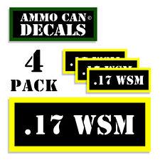 "17 WSM Ammo Can WSM Label Ammunition Case 3""x1.15"" sticker decals 4 pack BLYW"
