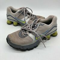 Nike Shox Womens Size 7.5 Running Shoes Silver Gray Yellow 316874-031