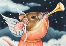 ACEO Limited Edition Print Christmas Angel Mouse Sounding Trumpet by J. Weiner