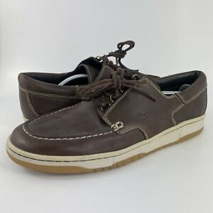 Nike Mad Jibe 'Dark Cinder' Brown Leather Boat Shoe 313264-221 Men's Size 14