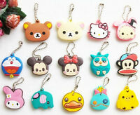 Key Silicone Cap Cover Ring Keychain Case Animals Head Cute Shell Shape Chain