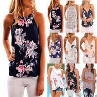 Women Floral Chiffon Sleeveless Tee Shirts Ladies Summer Vest Tank T-shirt Tops