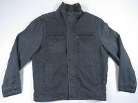 Levis Denim Jean Sherpa Lined Trucker Green Gray Zip Snap Mens Coat Jacket M