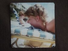 Side View Of Face Of Teenage Girl On Beach Chair Vtg 1980'S Abstract Photo