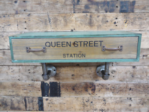 Vintage Industrial Urban Pipe Style Wooden Wall Shelf Drawer Queen St.Station