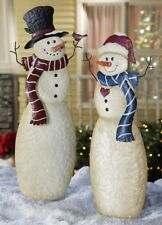 Mr & Mrs Snowman Couple Statue Stake Christmas Holiday Winter Outdoor Yard Decor