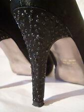 BATA TAGLIA UK 6 EUR 39 stiletto e plateau Nero in Raso Diamante Scarpe A Punta Aperta