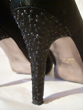 Bata UK size 6 EUR 39 Platform Stiletto Black Satin Diamante Peep Toe Shoes