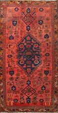 Vintage RED Geometric Hamedan Hand-knotted Area Rug Oriental Tribal Carpet 4'x6'