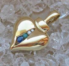 Brillantclip Anhänger Clip mit Smaragd Diamond für Kette in aus 585 Gold Herz