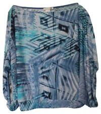 ALBERTO MAKALI Kimono Style Flattering Blue Print Silky Knit Top Size L