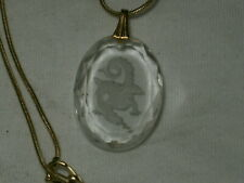 ...Gold Tone,Reverse Carved Glass Dragon Pendant Necklace...