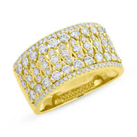 1.08CT 14K Yellow Gold Natural Round Cut Diamond Wide Cocktail Open Band Ring