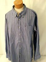 Tommy Hilfiger Long Sleeve Button Front Cotton Shirt Blue Size XL Flag