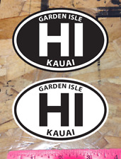 Hi Kauai Hawaii Garden Isle Oval sticker decals Black and White - 2 for 1