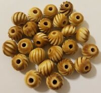 25 pcs Round Spiral 12mm Genuine Natural Bone Hand-Carved Jewelry Spacer Beads