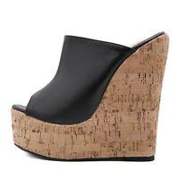 Shoes Women Cork Wedge Sandals Sky High Platform Mules High Heel Slipper Black