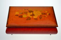"Vintage REUGE Music Box Wooden Inlaid Flowers Swiss Play ""Tomorrow"" Song"