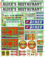 7051 DAVE'S DECALS HO RESTAURANT DINER GRILL SIGNS W/ ASSORTED IMAGES WATERSLIDE