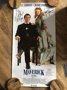 Mel Gibson Jodie Foster Signed Movie Maverick Poster