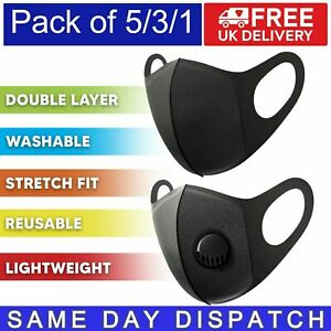 Reusable Face Mask with Air Filter Valve | Washable Adult Protection | Black -UK