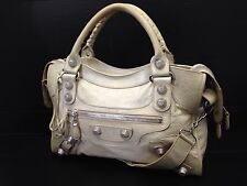 "Auth Balenciaga Giant City 2way Shoulder Bag Cream x Silver Vintage 6i220230m"""