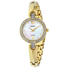 Seiko SUP290 Solar Gold Stainless Steel Mother of Pearl Swarovski Women's Watch