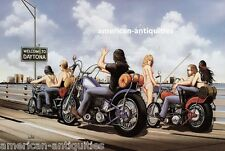 Dave David Mann Biker Art Motorcycle Poster Print Easyriders Welcome to Daytona