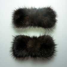 Dark Brown ribbon real mink fur decorative shoe clips formal ornament charm