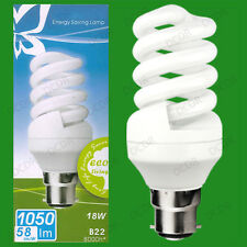 2x 18W Daylight SAD Low Energy CFL 6500K White Light Spiral Bulbs BC B22 Lamps
