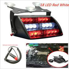 18 LED Red&White Light Car SUV Dash Windshield Emergency Strobe Flashing Light