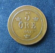 Munt Zweden/Sverige: 5 Öre 1907 in zeer fraai