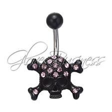 1PC Black  Skull Skeleton Belly Button Navel Ring Dangle Body Jewelry Piercing