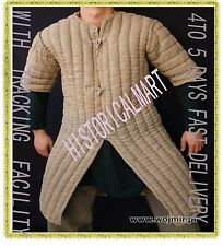 Thick camel color long Gambeson Medieval Padded play movie Armor half sleeves Ne