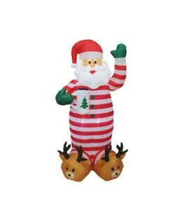 Mirabella 1.8m Inflatable Santa In Pyjamas With LED Lights Christmas Decoration