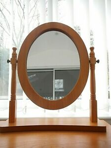 OVAL ADJUSTABLE ANGLE BEDROOM DRESSING TABLE MIRROR WITH WOODEN FRAME
