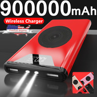 900000mAh Portable Qi Wireless Charging 2USB Power Bank Advanced Fast Charger
