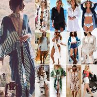 Womens Boho Kimono Cardigan Kaftan Bikini Swimwear Wrap Cover Up Beach Dress