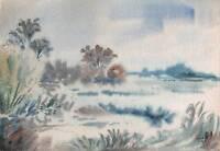 IMPRESSIONIST MISTY LANDSCAPE Watercolour Painting T J PITT 1964
