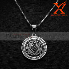 """Stainless Steel Silver Master Free Masonic Pendants Necklace Box Chain 3MM 24"""""""