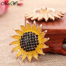 New Crystal Sunflower Snap Button Fit Noosa Snap Button Bracelet Necklace