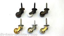 "Brass castors 1"" screw plate Brass, Chrome, Ceramic Wheel, Black Nickel, Antique"