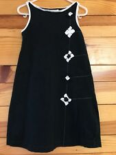*DEUX PAR DEUX* Girls Sleeveless Black Dress w/White Flowers & Trim Size 6