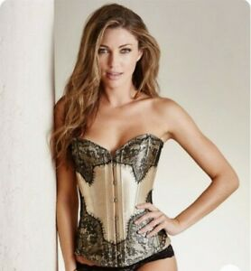 Adore Me Corset Brand New Size XL Gold Black Eyelash Lace Up Overbust Boned Sexy