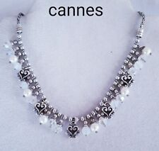 Brighton retired Cannes Opal Blue pearl Swarovski fringe necklace B200