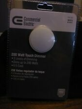 Commercial Electric 200 Watt 120 Volt 3 Level White Touch Dimmer 6ft Cord