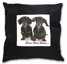 Dachshund Dogs 'Love You Mum' Black Border Satin Feel Cushion Cov, AD-DU2lym-CSB